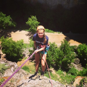 Rappelling from the top of the canyon in Rifle Mountain Park.