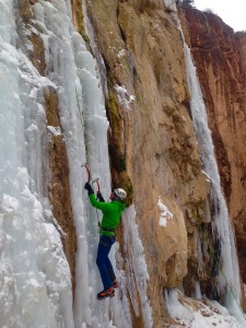 Ice climbing in Rifle Mountain Park.