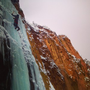 Ice climbing in Rifle Mountain Park on the Pleasure Pillar.