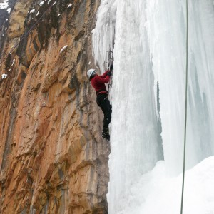 Climbing ice on the Far Left of the Final Curtain in Rifle Mountain Park.